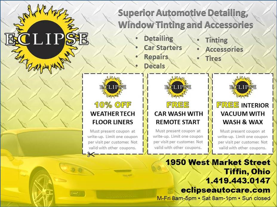 Eclipse auto care window tinting auto detailing and accessories 1950 west market street tiffin ohio 1 419 443 0147